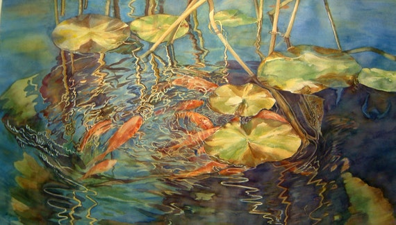 Fish in Lily Pond 2 - A Limited Edition Giclee of an Original Watercolor