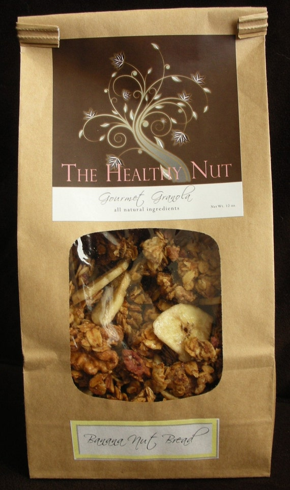 Banana Nut Bread Gourmet Granola -  all natural & vegan by - oats, pecans, walnuts, bananas 12 oz. bag
