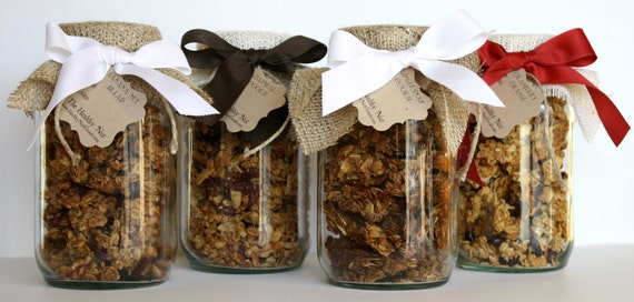 Christmas Holiday Gourmet Granola Gift Jar Set - Oatmeal Cookie, Banana Nut Bread, Cranberry Orange, Gingersnap Cookie