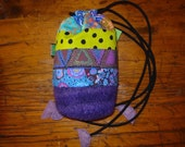Felted & Fabric Drawstring Pouch Purse