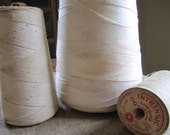Vintage White Thread Spools Industrial Craft String Sewing Supplies