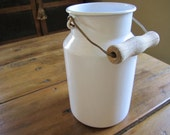 Vintage Fresh White Enamelware Pail Bucket Riess Austria European Cottage Farm Kitchen