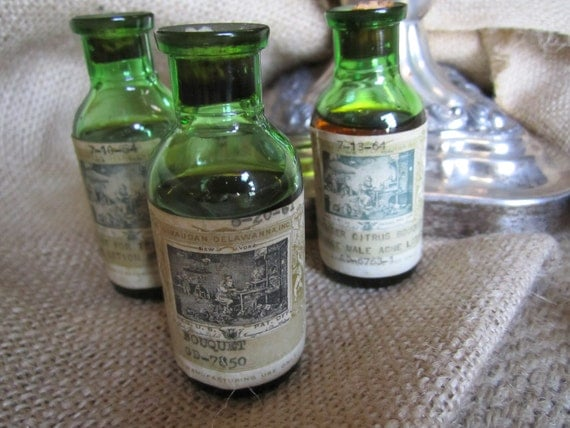 Vintage Herbal Remedy Apothocary Medicine Bottles Green Glass Antique Style Teenage