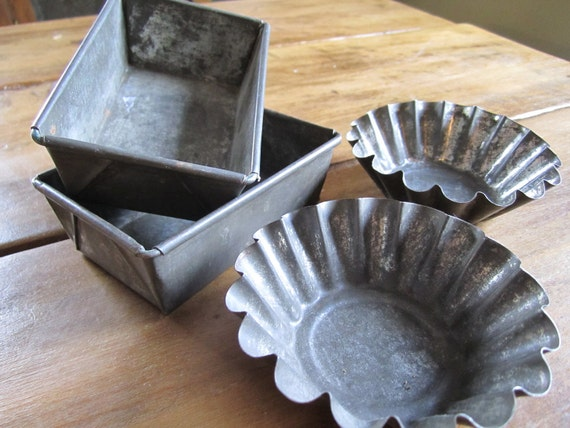 Vintage Zinc Baking Pans Tart Shell Tin Mold Rustic Farmhouse Cottage Kitchen