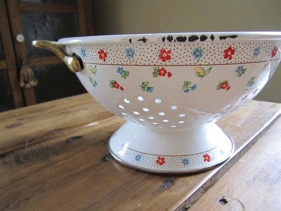 Vintage White Enamel Floral Colander Fresh Farmhouse Cottage Shabby Kitchen