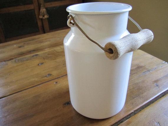 Vintage Fresh White Enamelware Pail Bucket Riess Austria European Cottage Farm Kitchen