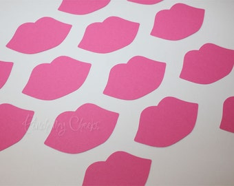 Lips Pink Die Cuts Hot Pink perfect for your Straws Party Shower Valentine's Day Cards Baby shower Wedding Photo booth 100 pieces