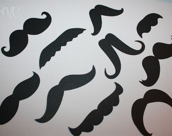 Combo SET of Mustaches Black Die Cuts perfect for your Party Little Man Shower Cards Wedding Photo booth PROPS 50 pieces