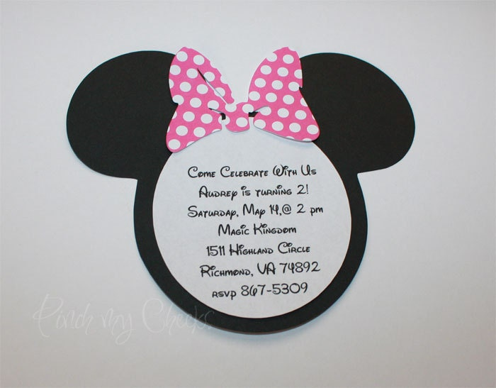 minnie mouse 1st birthday invitations with pink polka dot bow, Birthday invitations