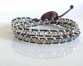 Black Leather Wrap Bracelet Faceted Iridized Bronze Beaded 2x Double Multi Wrap
