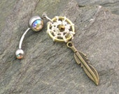 Dream Catcher Belly Button Ring, Antiqued Brass Feather