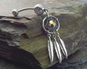 Dream Catcher Belly Button Jewelry Silver Feather Belly Jewelry
