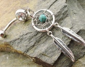 Turquoise Dream Catcher Belly Button Jewelry, Belly Button Ring