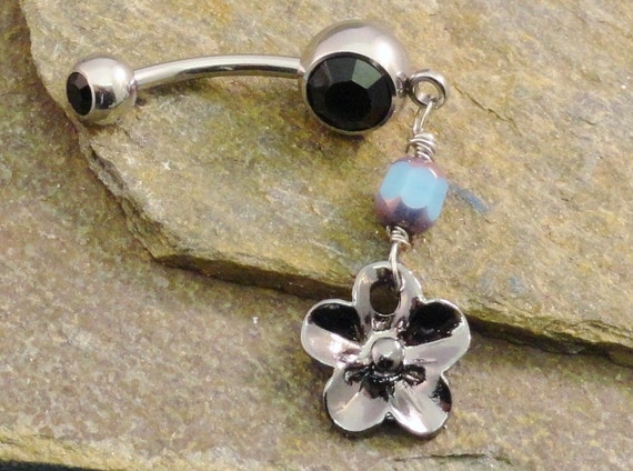 Flower Belly Button Ring, Turquoise Stone Navel Jewelry Piercing