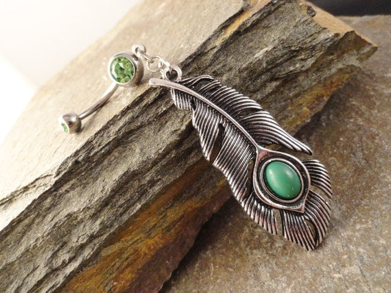 Peacock Feather Belly Button Jewelry, Belly Button Ring
