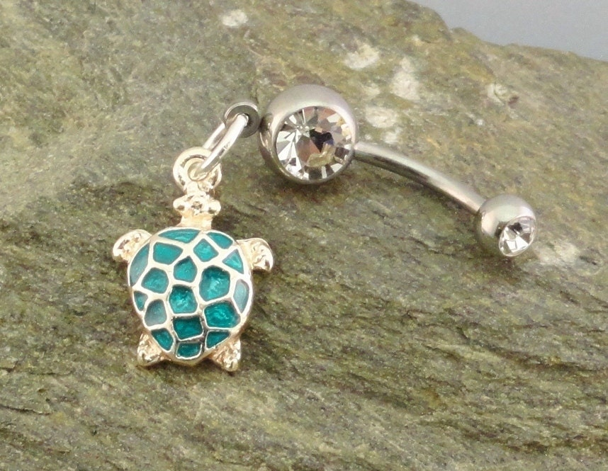 Turtle Belly Button Ring Turquoise Turtle Navel Jewelry