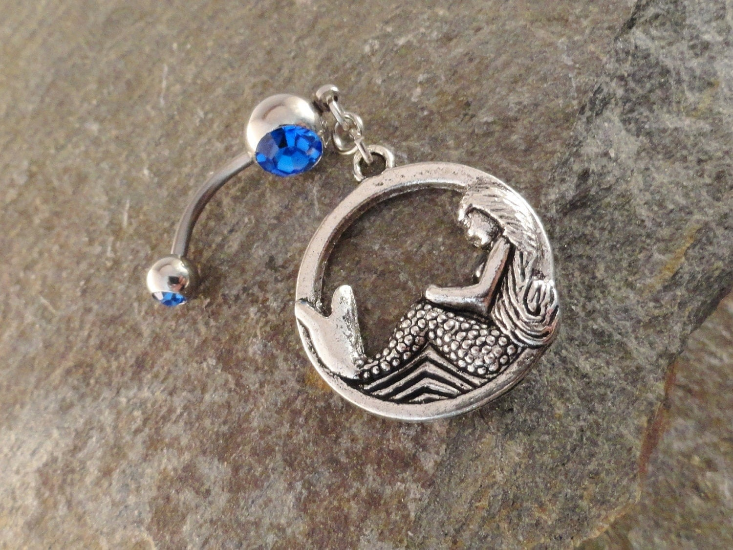 Mermaid belly button ring jewelry sapphire blue belly button for Sapphire studios jewelry reviews