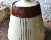 Retro Terracotta Jar - white and brown decoration with stripes