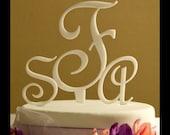 Three Letter Monogram Wedding Cake Topper,