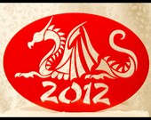 Chinese New Year, Year of the dragon 2012 Happy New Year Acrylic Cake Topper