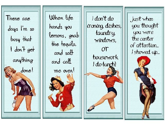 Retro 50 S Pin Up Ladies Bookmarks With Quirky Sayings
