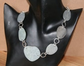 Beach stone necklace, sterling silver links