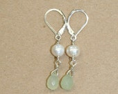 new jade and pearl earrings, sterling silver