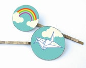 Origami Crane and Rainbow hair pin duo with lovely illustrations