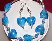 BUY 3 GET 1 FREE -- Blue Hearts Bracelet and Earrings Set