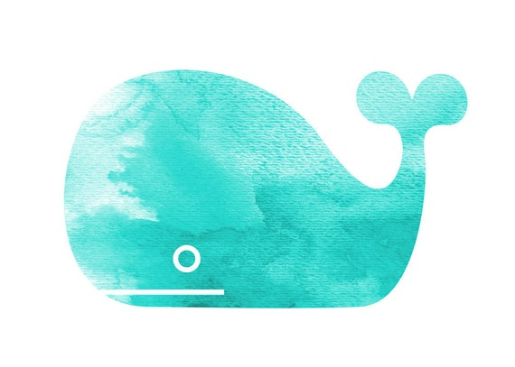 Blue Whale, nursery room, baby shower gift, 5x7 Print
