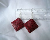 red paper earrings- paper jewelry