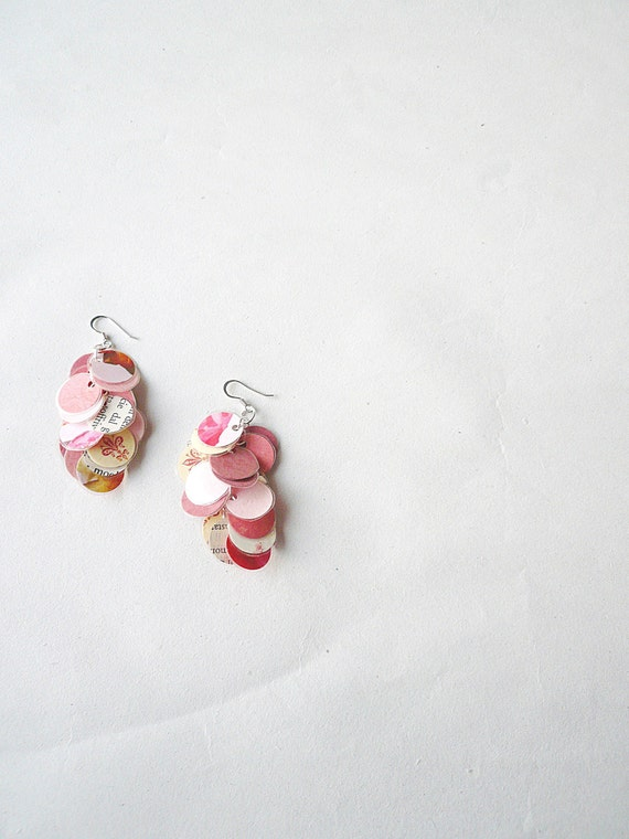 Romantic pink- recycled paper earrings-paper jewelry- spring pastels