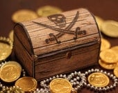 Pirate's Treasure Chest Box - INSTANT DOWNLOAD - Printable Party Gift Decoration Template by Sassaby