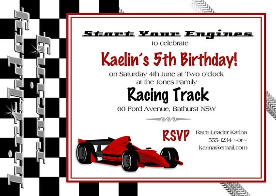 Racing Car Grand Prix Birthday Invitation INSTANT DOWNLOAD – Race Car Birthday Party Invitations