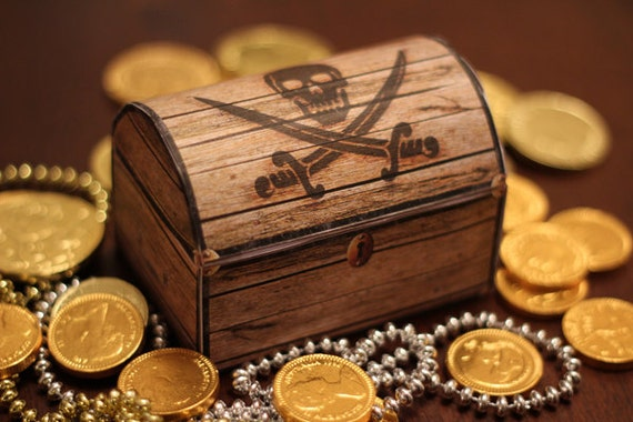Pirate's Treasure Chest Box - INSTANT DOWNLOAD - Printable Birthday Party Favor Gift Decoration Template by Sassaby Parties