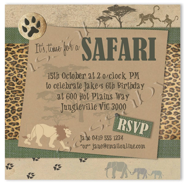 Safari Party Invitation INSTANT DOWNLOAD Editable & By Sassaby