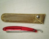 1930s Vintage Lucite Straight Razor with Leather Case