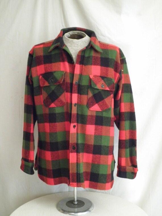 1950s Vintage Plaid Wool Shirt Jacket Winter King X Large