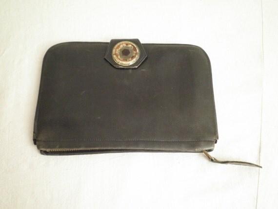 SALE 1930s Vintage Leather Purse Celluloid Clasp Multiple Compartments