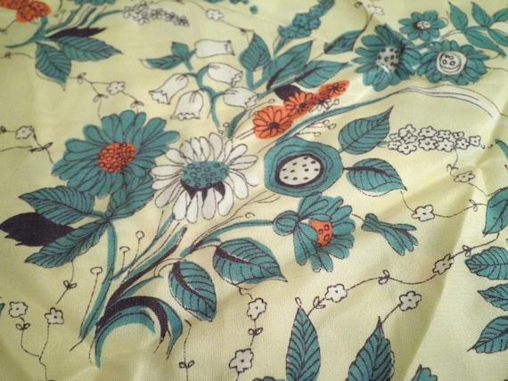 1940s Vintage Rayon Fabric Yardage Floral Spray Print