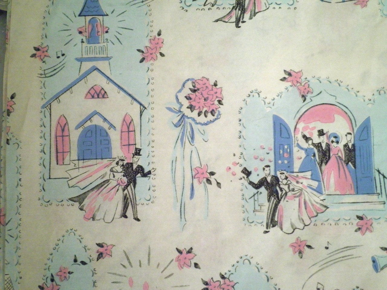 Wedding Gift Paper: 1950s Vintage Wedding Gift Wrap Paper 3 Different Patterns
