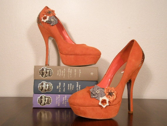 Orange, Gray, and Ivory Shoe Clips