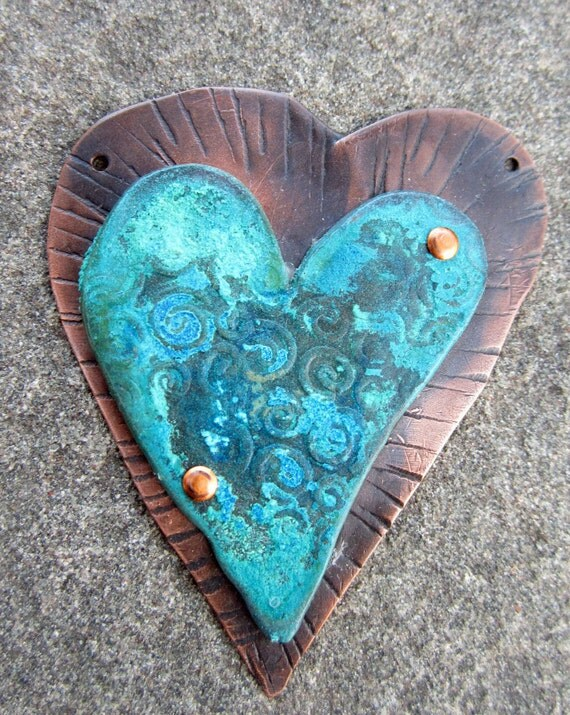 Blue Tear Stained Heart Pendant