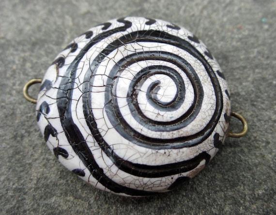 Black and White Faux Raku Spiral Connector