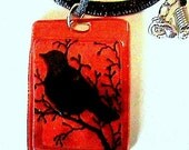Raven  Mad Faux Fused Glass Pendant