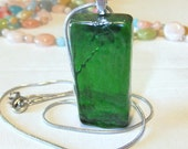 Green Mosiac Glass Pendant with FREE snake chain