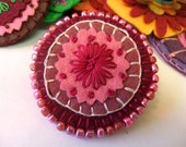 Sparkly Burgundy, Mauve and Pink Embroidered Felt Brooch