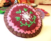 Pretty Brown, Pink and Burgundy Felted Brooch