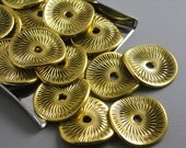 20% OFF - SPACER-gold-POTATOCHIP-15mm - 15mm Antique Gold Plated Potato Chip Spacers...20 pcs