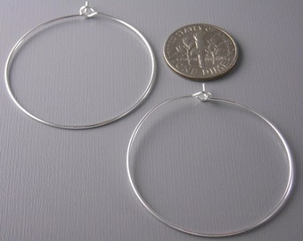 HOOP-SILVER-WINE-35MM - 20 pcs of 35mm Silver Plated Hoop Earrings